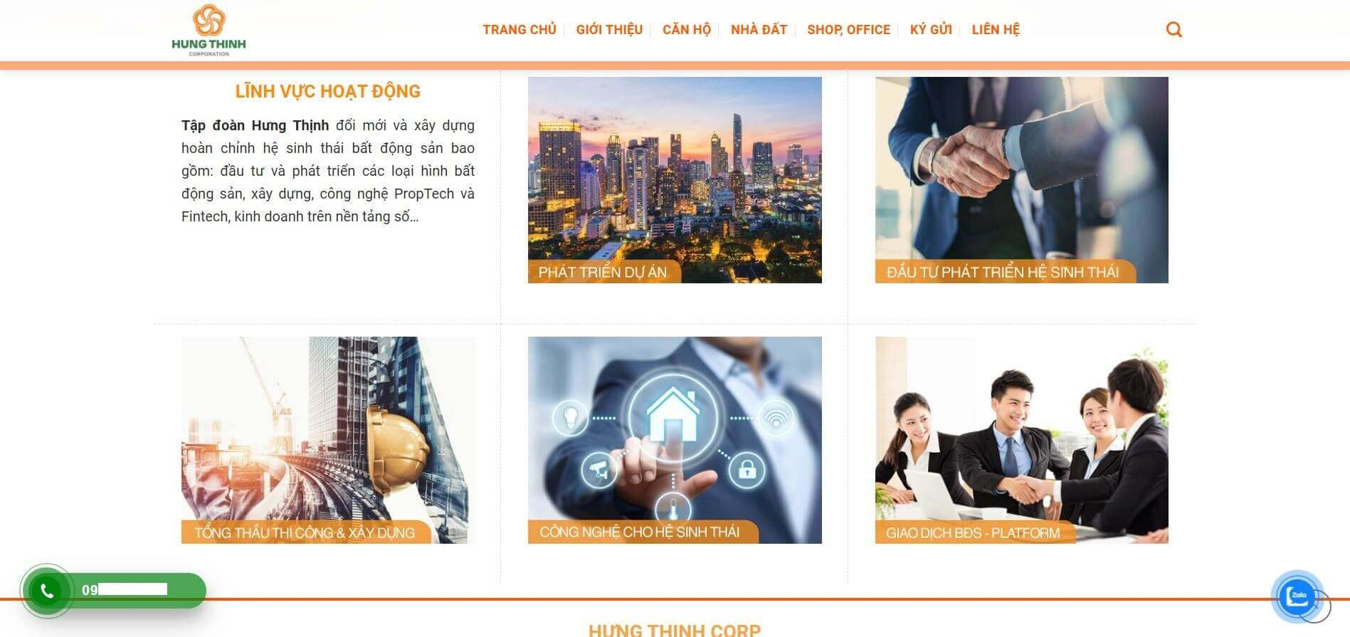 Thiết kế website bds congtyhungthinhcorp